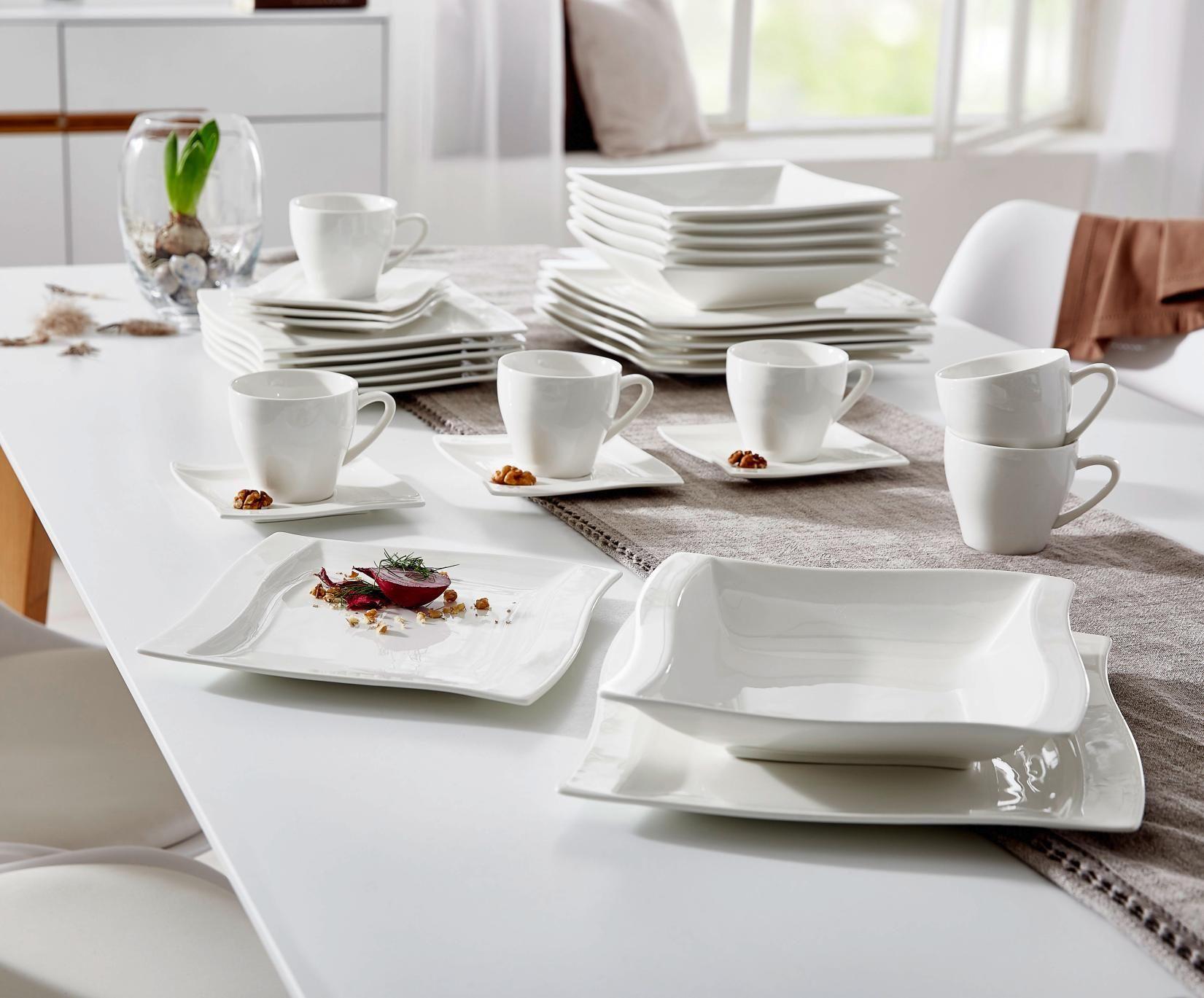 Tafelservice In Weiss Swing Quadratisch In Edlem Design Tafelservice Geschirr Geschirrset