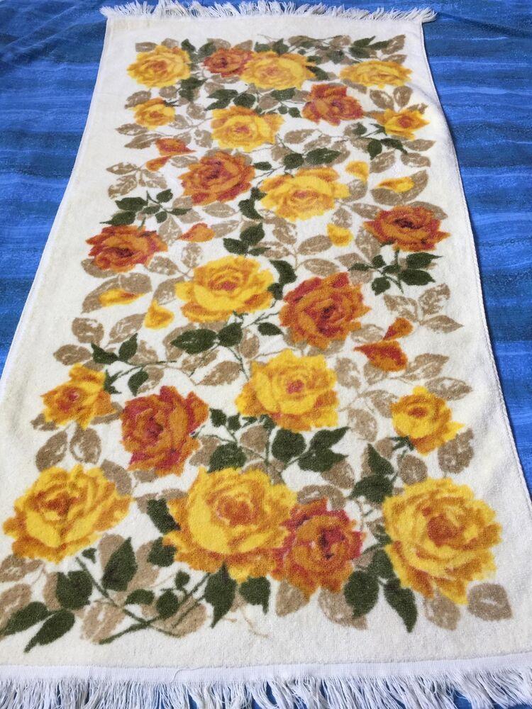 Vintage 50s Cannon Fringe Bath Towel Floral Yellow Pink Roses