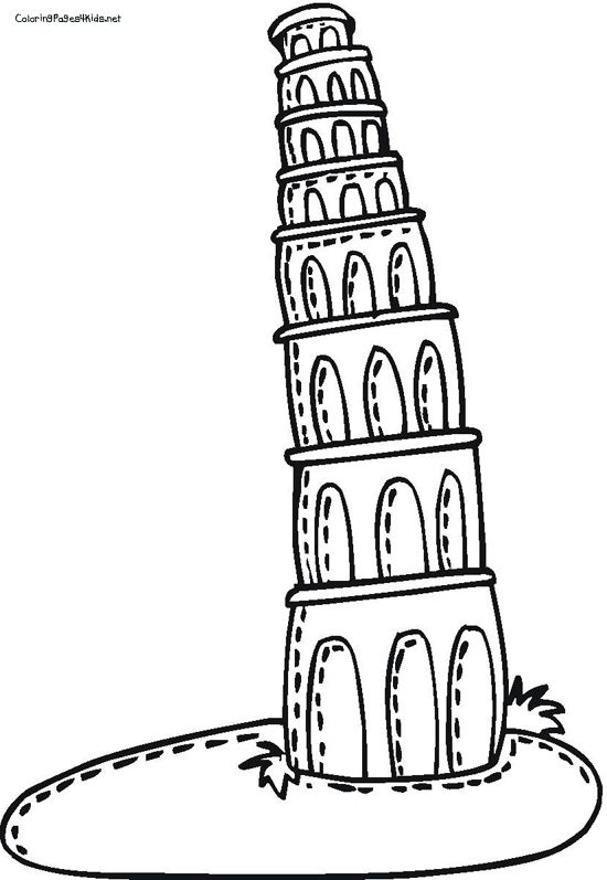 Cartoon Leaning Tower Of Pisa Leaning Tower Of Pisa Coloring