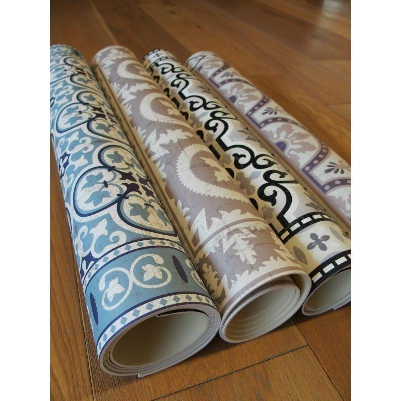 Tapis vinyle pvc motifs carreaux de ciment bleus vintage id al dans votre cuisine salle de - Vinyle salle de bain ...