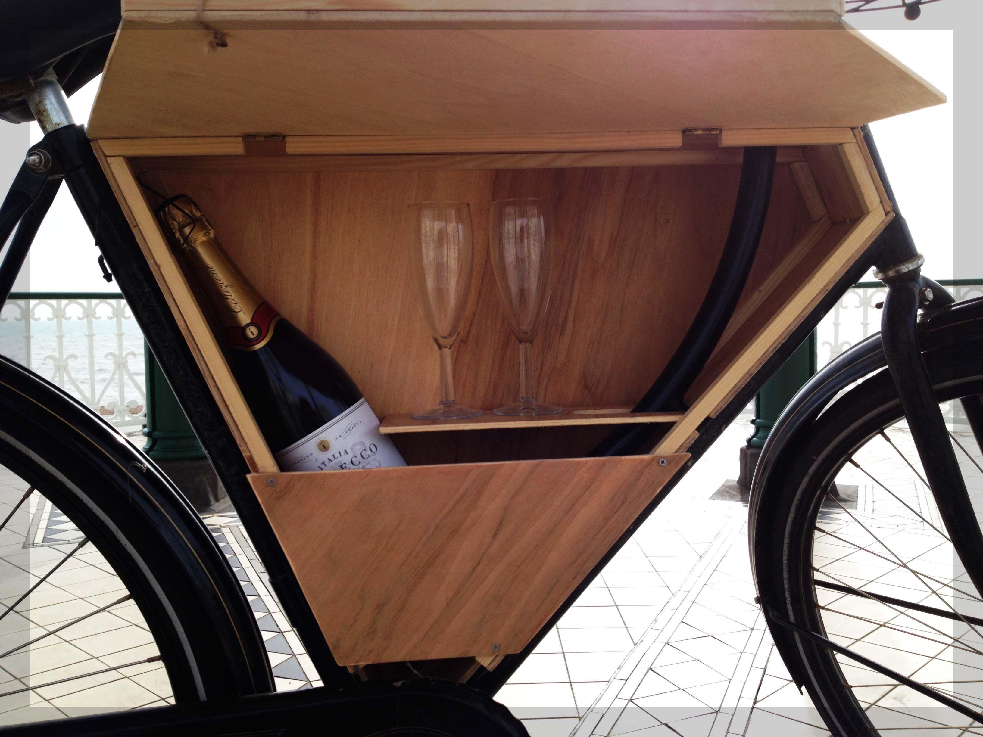 Wooden Bike Bar Box Shelf With Champagne Wooden Bike Dutch