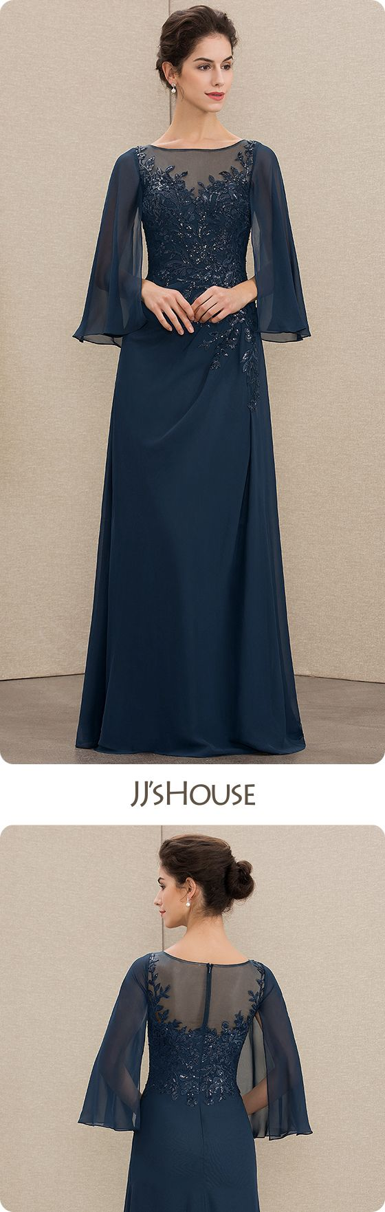 JJsHouse A-Line Scoop Neck Floor-Length Chiffon Lace Mother of the Bride Dress With Sequins