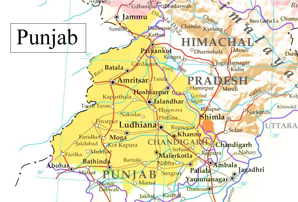 Punjab Map Big Size | Maps in 2019 | Map, Shimla, Amritsar