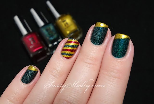 The Digit-al Dozen DOES Red, Gold, Green ~ Day 1: Diagonal french & stripes - Sassy Shelly: Nails and Attitude
