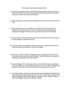 I Use Thi Worksheet For Amp Quot Everyday By Alice Walker With Student In Literature Group Be Discussion Guide What To Read Essay