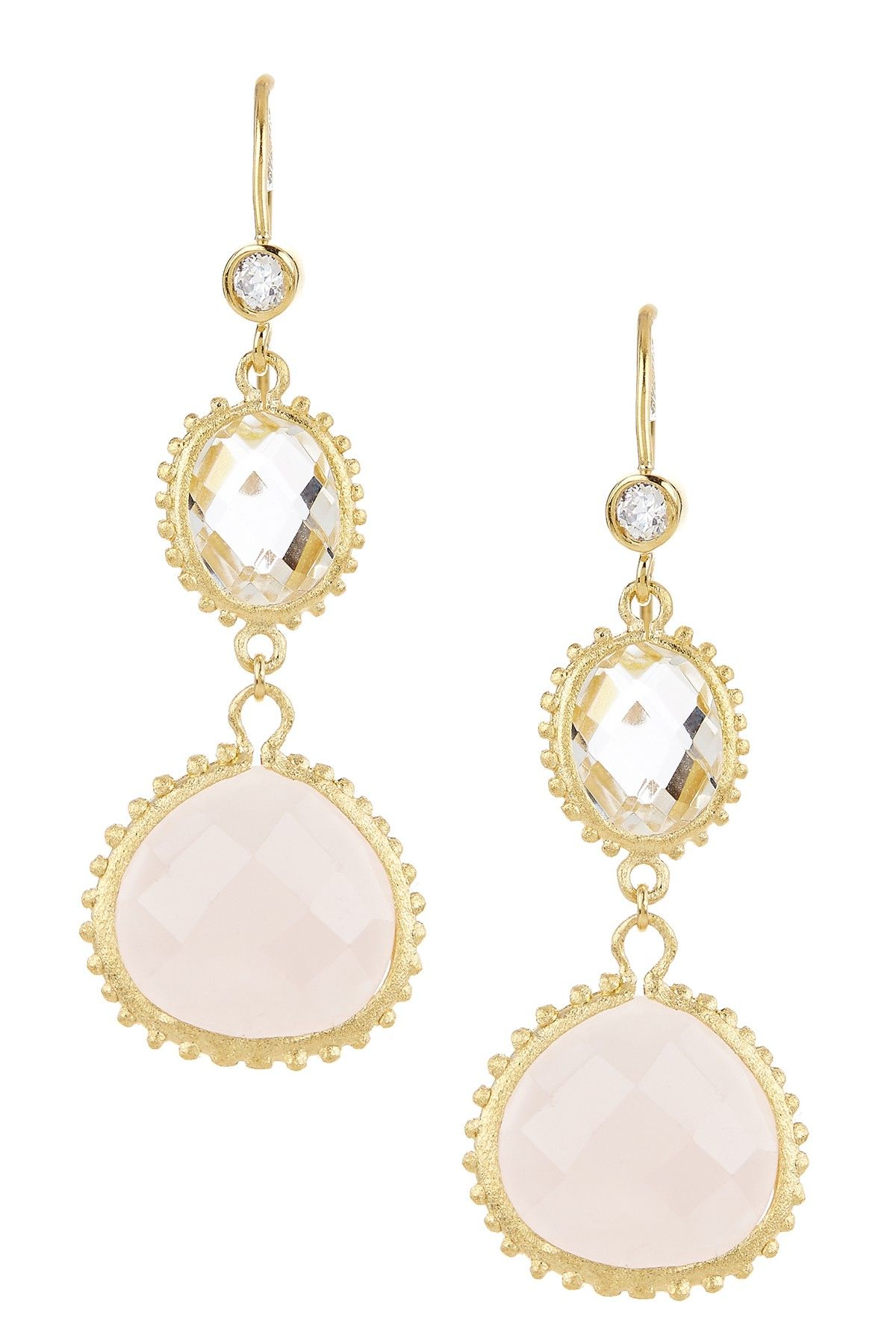 18K Gold Clad Rock Crystal & Rose Quartz Double Dangle Earrings with Simulated Diamond Hook