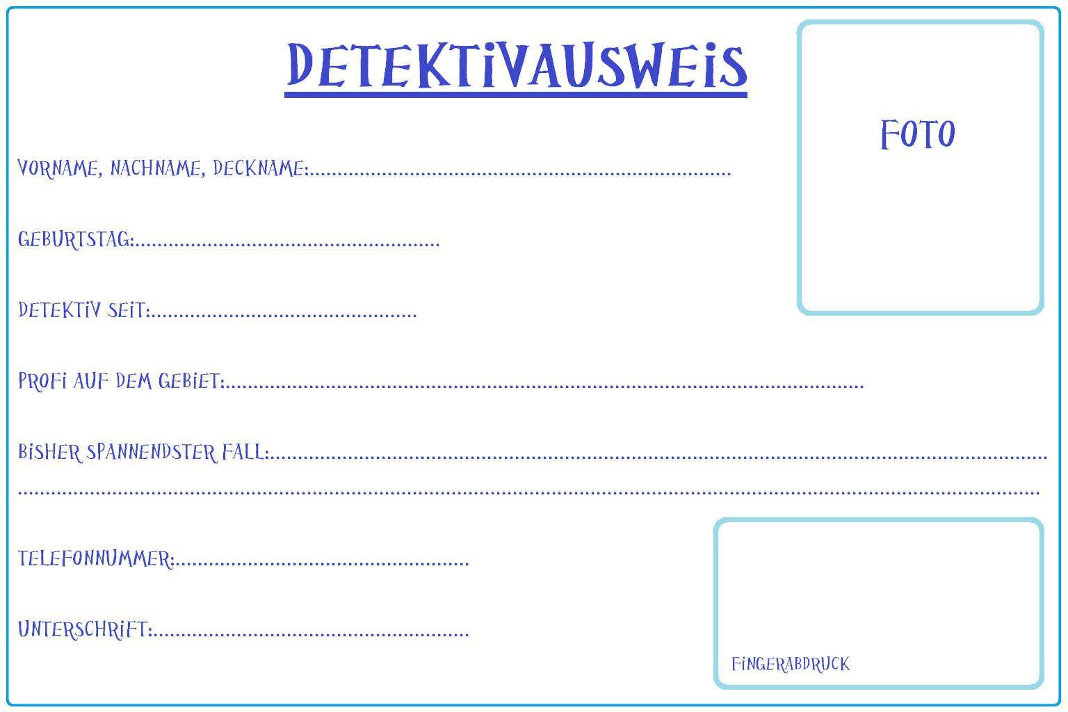 Detektivausweis 627 Jpg 1536 1024 Detektivausweis Einladung Kindergeburtstag Lustige Themen