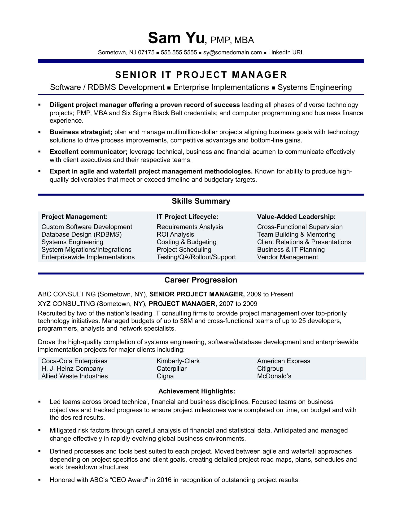 Experienced It Project Manager Resume Sample Project Manager Resume Project Management Resume Examples
