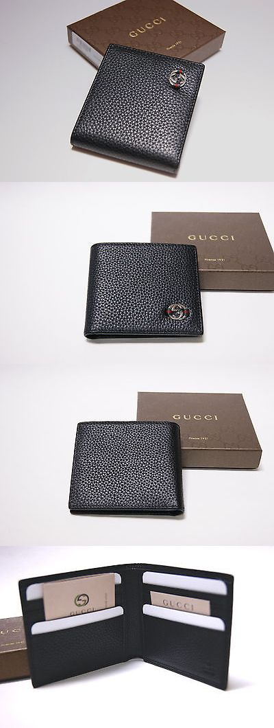 Wallets 2996: New Gucci Authentic Men S Black Gg Metal Web Bifold Leather Wallet -> BUY IT NOW ONLY: $195 on eBay!