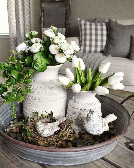 60 Stylish And Sassy Diy Farmhouse Home Décor For Amazing Interiors Spring Table Decor Spring Easter Decor Spring Decor