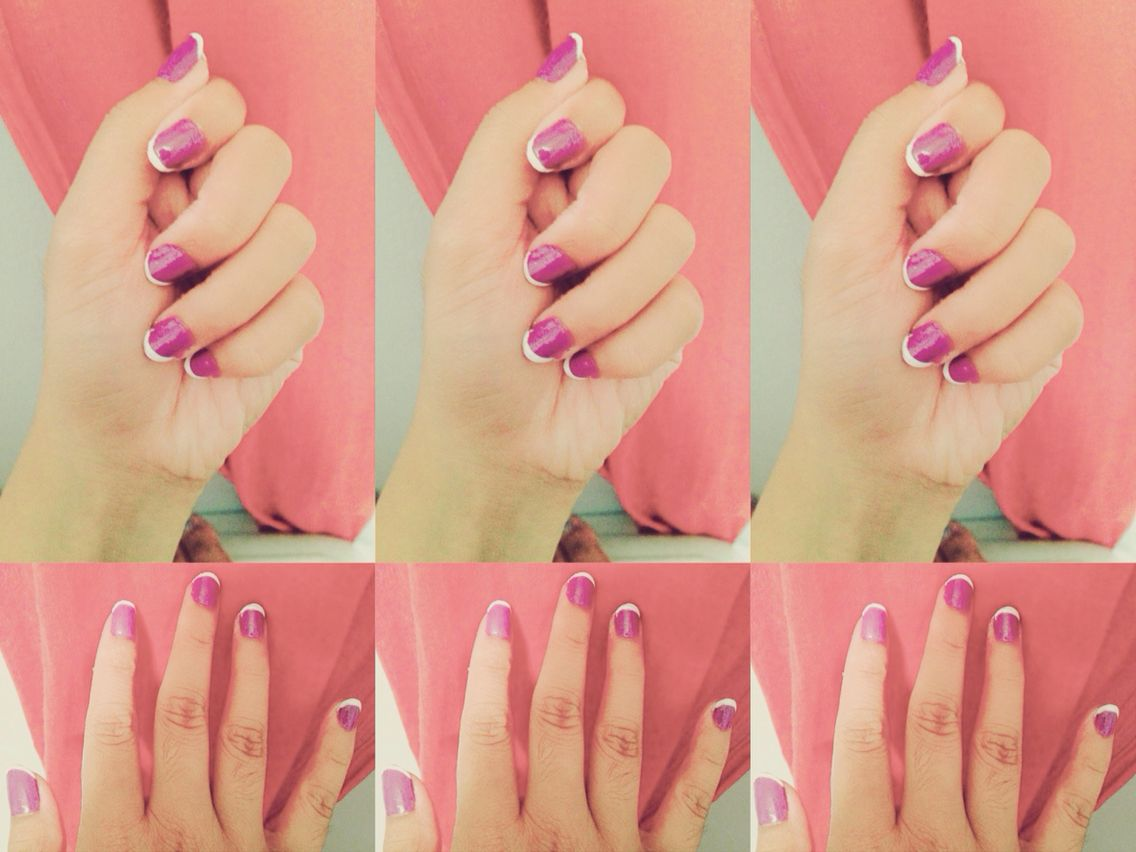 White and purple nail arts.. Made by me..