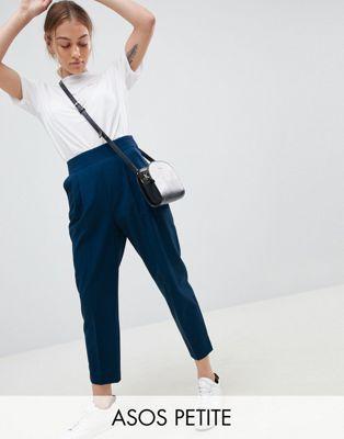 ASOS DESIGN Petite high waist tapered pants at asos.com