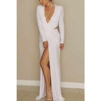Vestido Longo 2015 Summer V Neck Split White Long Maxi Dress Long Sleeve Sexy Club Bodycon Bandage Party Dresses