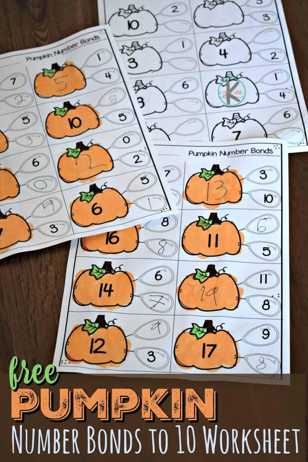 Pumpkin Number Bonds To 10 Worksheet