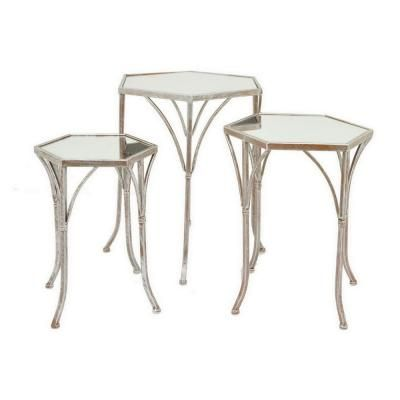 Three Hands 22 In Champagne Mirror Table Set Of 3 Beige