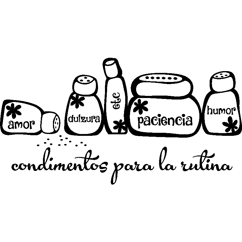 Sticker citation condimentos para la rutina vinilos for Todo para la cocina