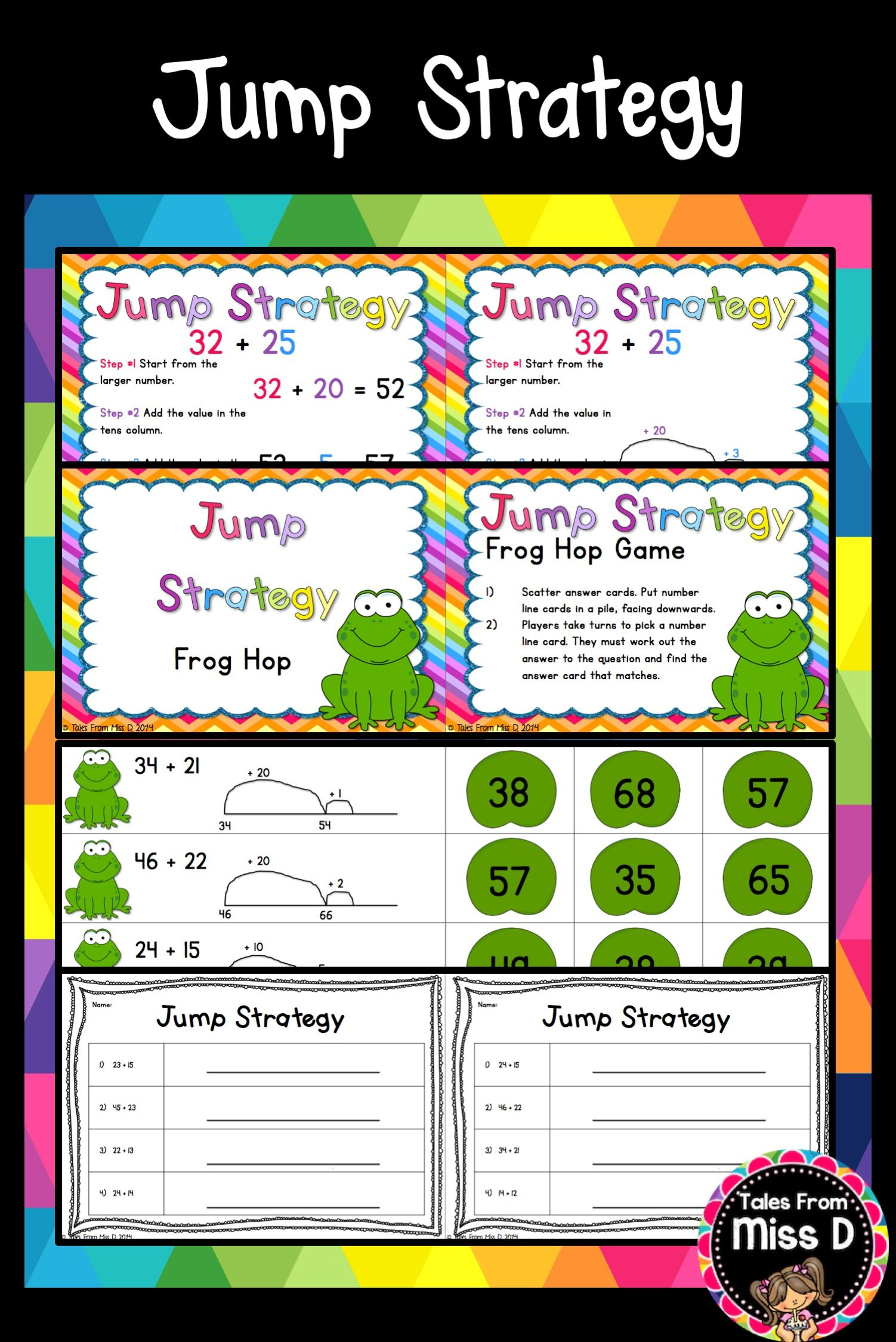 This Pack Will Help You Teach The Jump Strategy For Addition To Your Class In This Pack 1 Two Posters Explaining The S Teaching Math Strategies Math Freebie Jump strategy addition worksheets year 4