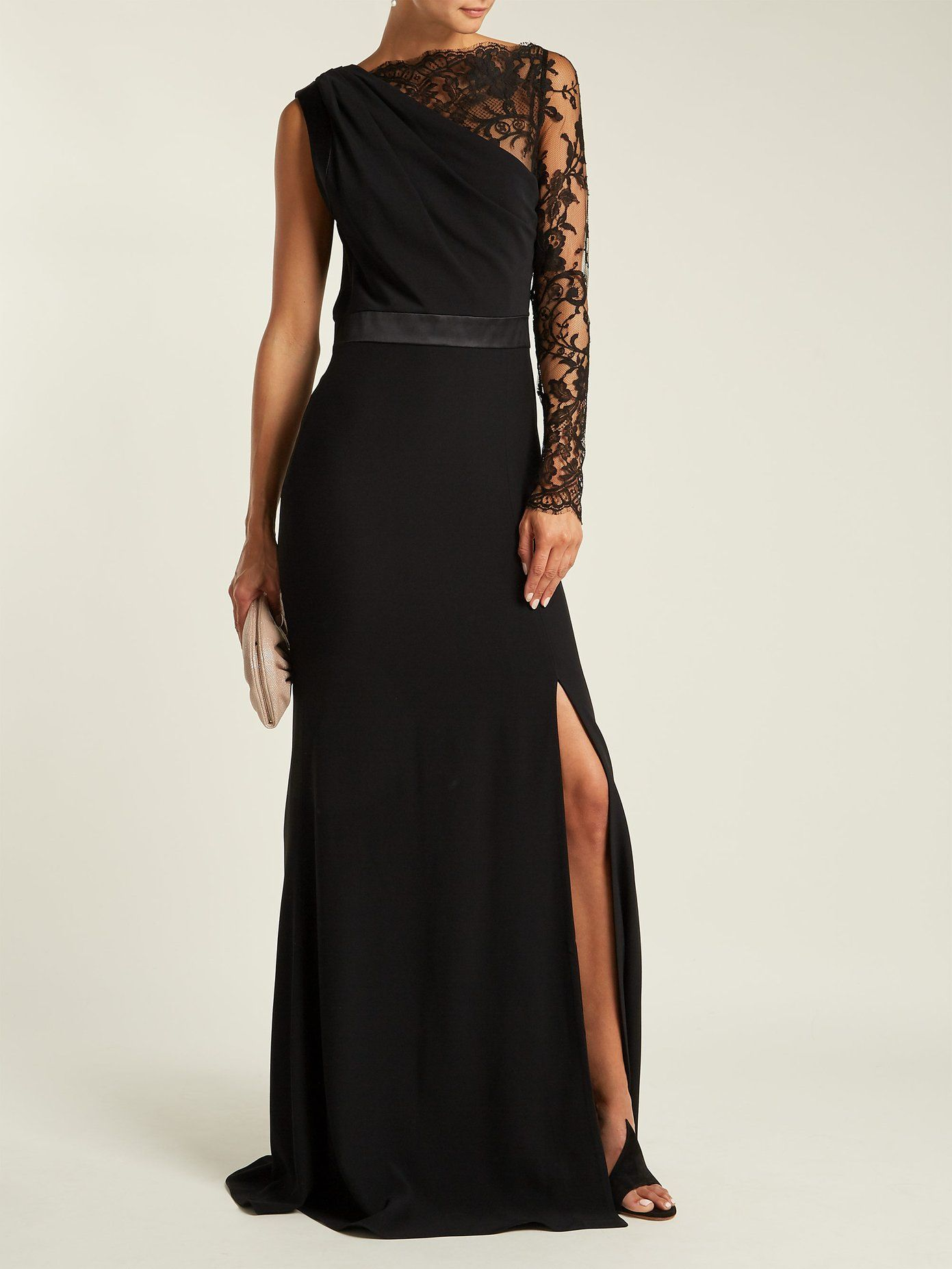 One Shoulder Lace And Crepe Gown Alexander Mcqueen Matchesfashion Com Uk Alexander Mcqueen Gowns Lace Sleeves