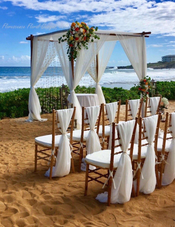 SALE BULK 50 white chiffon chiavari chair cover sash with