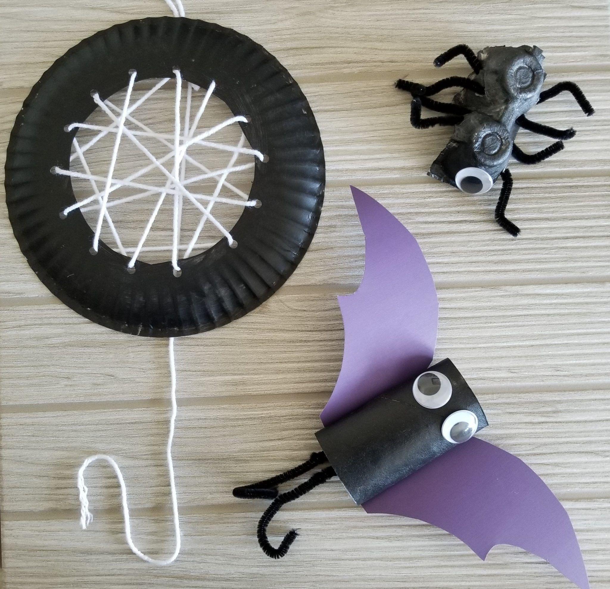 Halloween Spider And Bat Craft For Kids