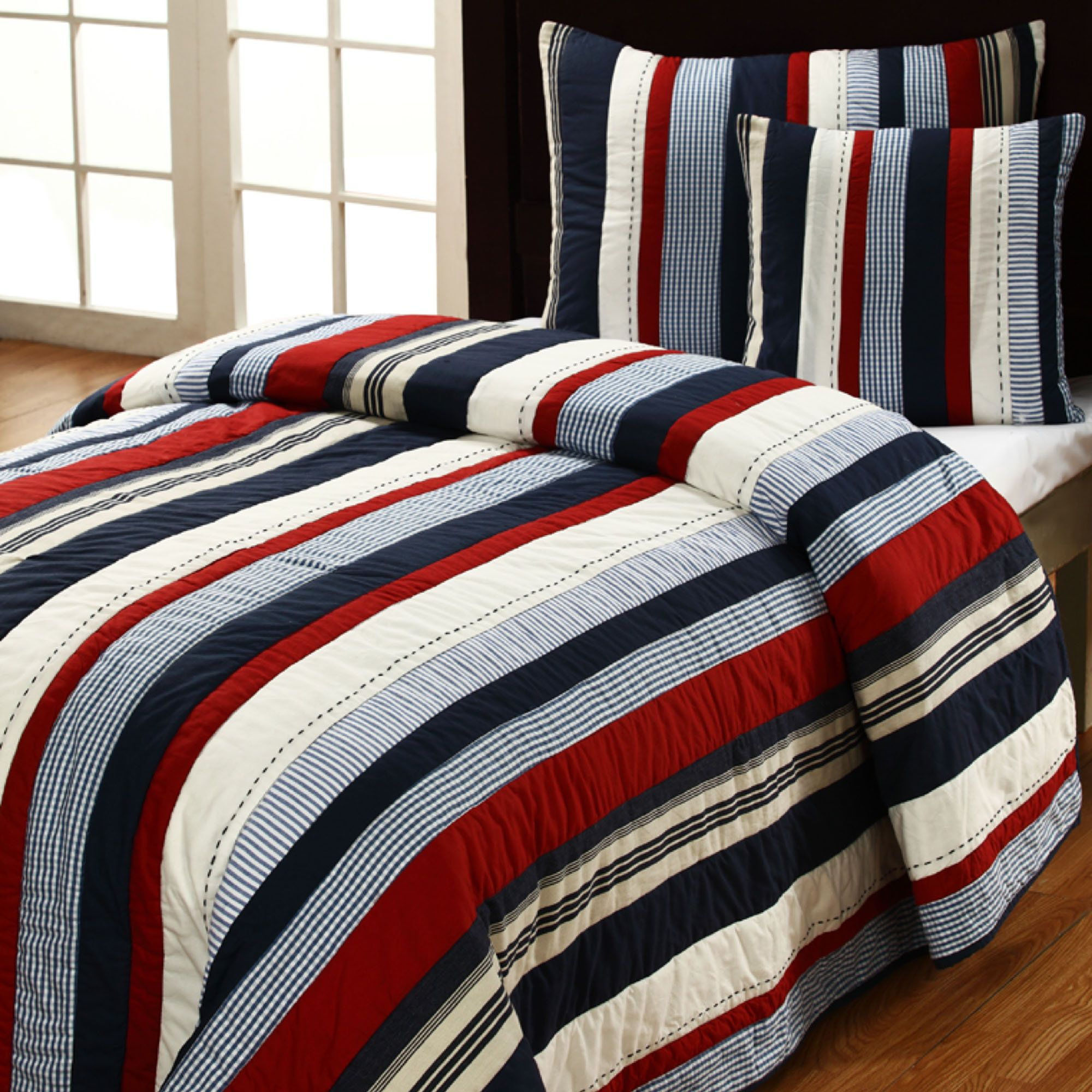 quited bedding Home > Romeo Striped Nautical Quilt Set