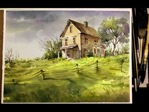 Watercolor Landscape Painting Old Litter House In The Meadow