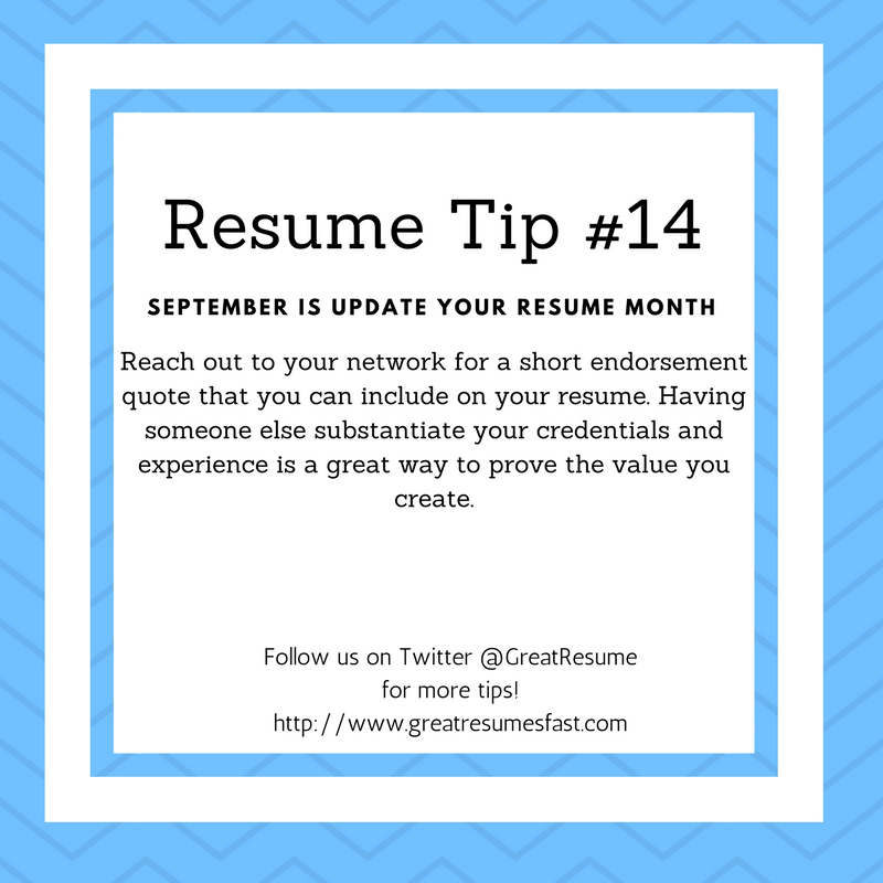 Resume writing tips for September Update Your Resume Month