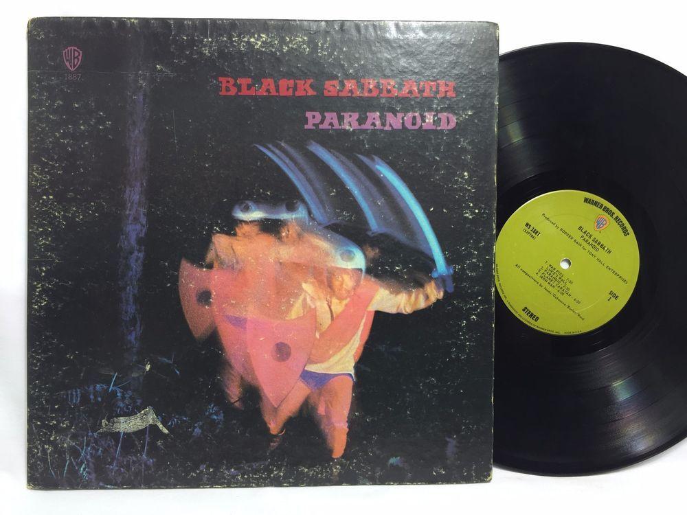 Black Sabbath Paranoid Warner Brothers Ws 1887 Lp Vinyl Record Green Label