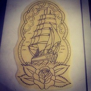 reference. clipper ship traditional rose | tattoo ideas ...