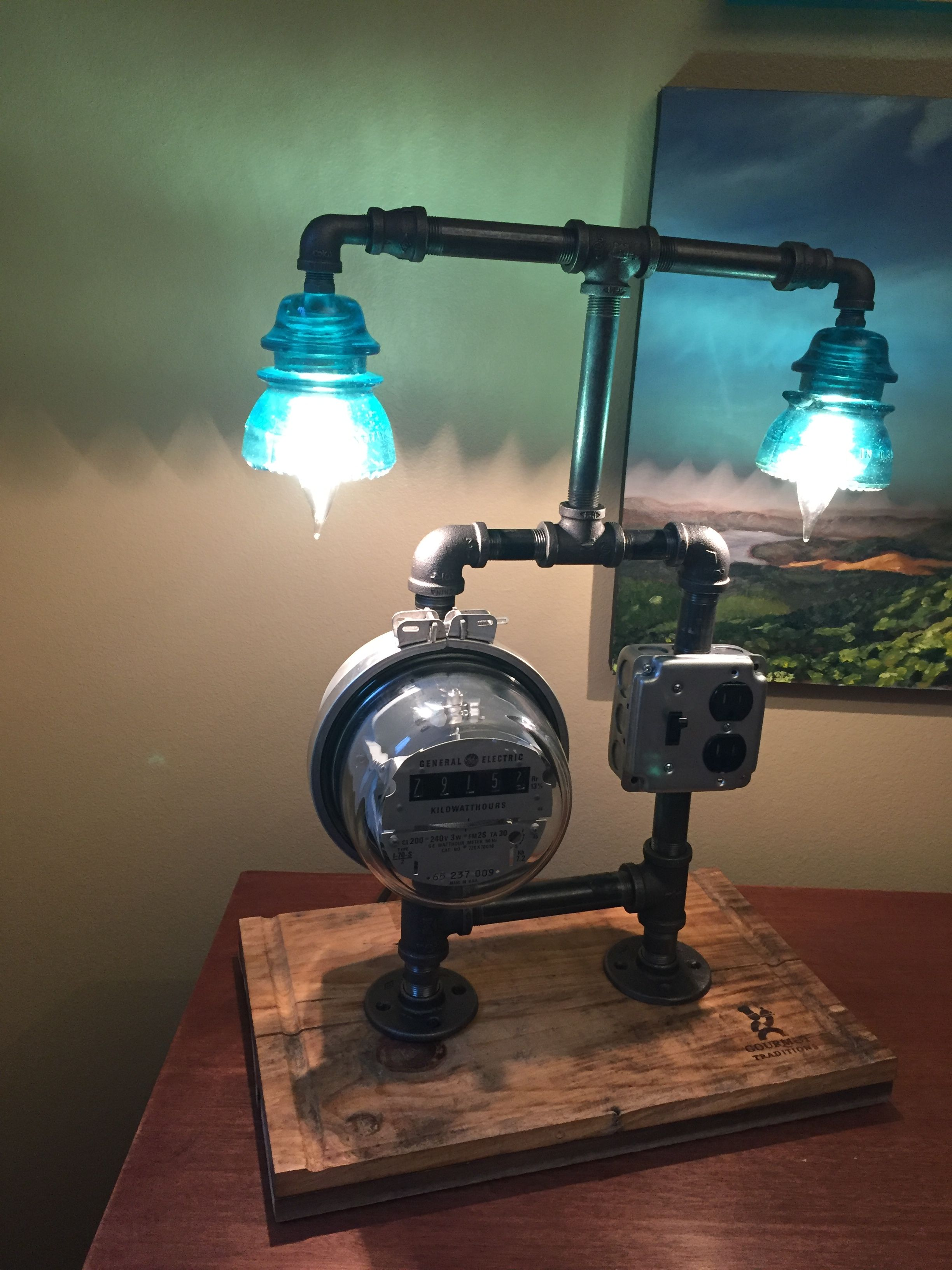 Meter Lamp Built As A Weekend Project Drilled Holes In The Gl Insulators Receptacle And Lights Run Through