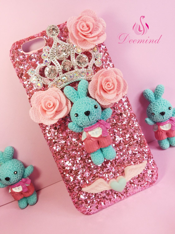 wholesale dealer f6286 346de DIY Handmade BLUE Rabbit phonecase, cute bunny,sweet, Personalised ...