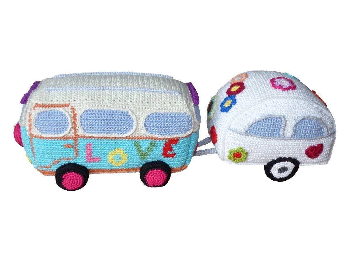 Häkelanleitung (011): Hippie Bus mit Wohnwagen   Hippie Style ...
