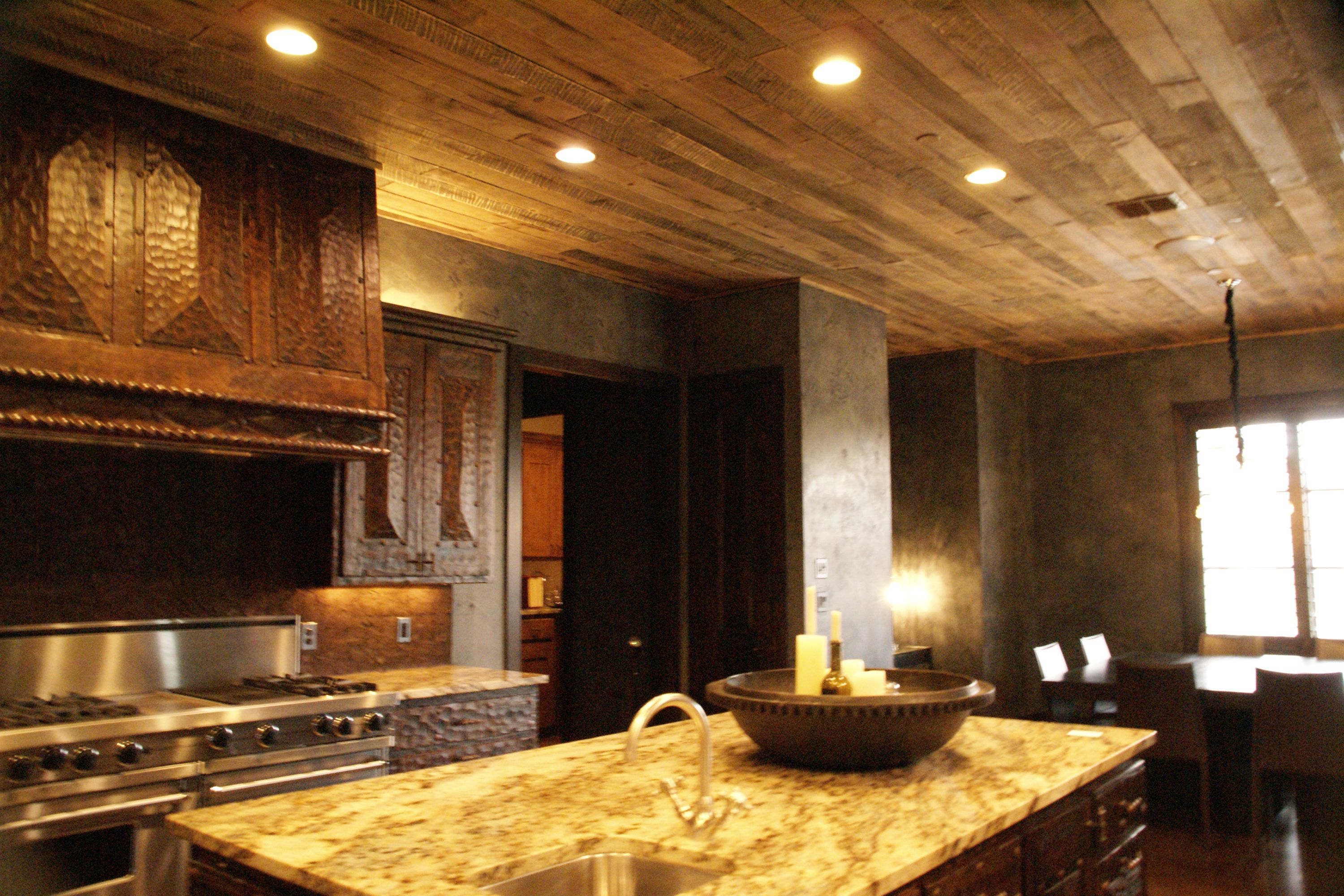 Rustic distressed wood plank ceiling house redo for Home rustic ceiling ideas