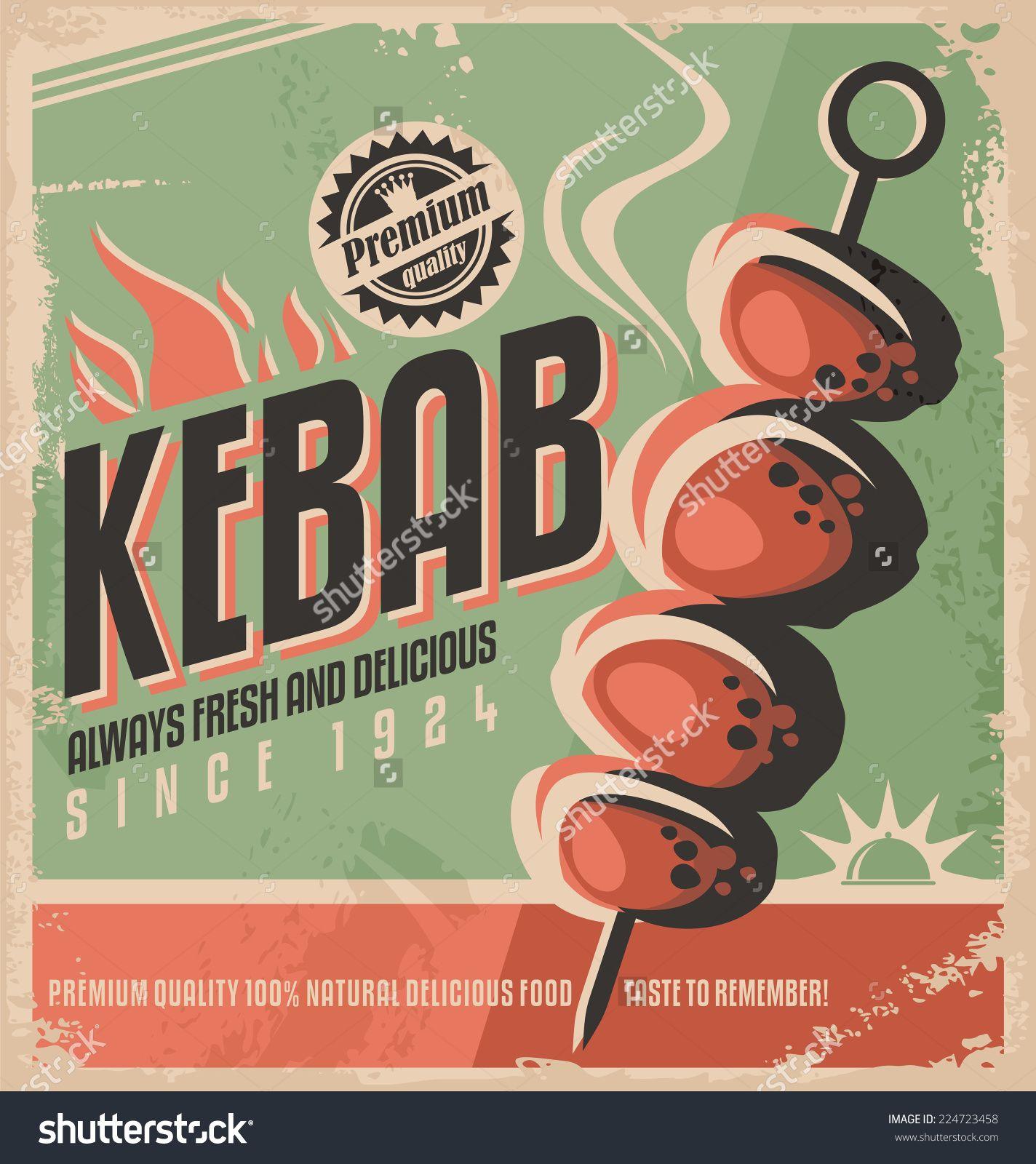 D d poster design - Kebab Retro Poster Design Concept Promotional Ad Design For