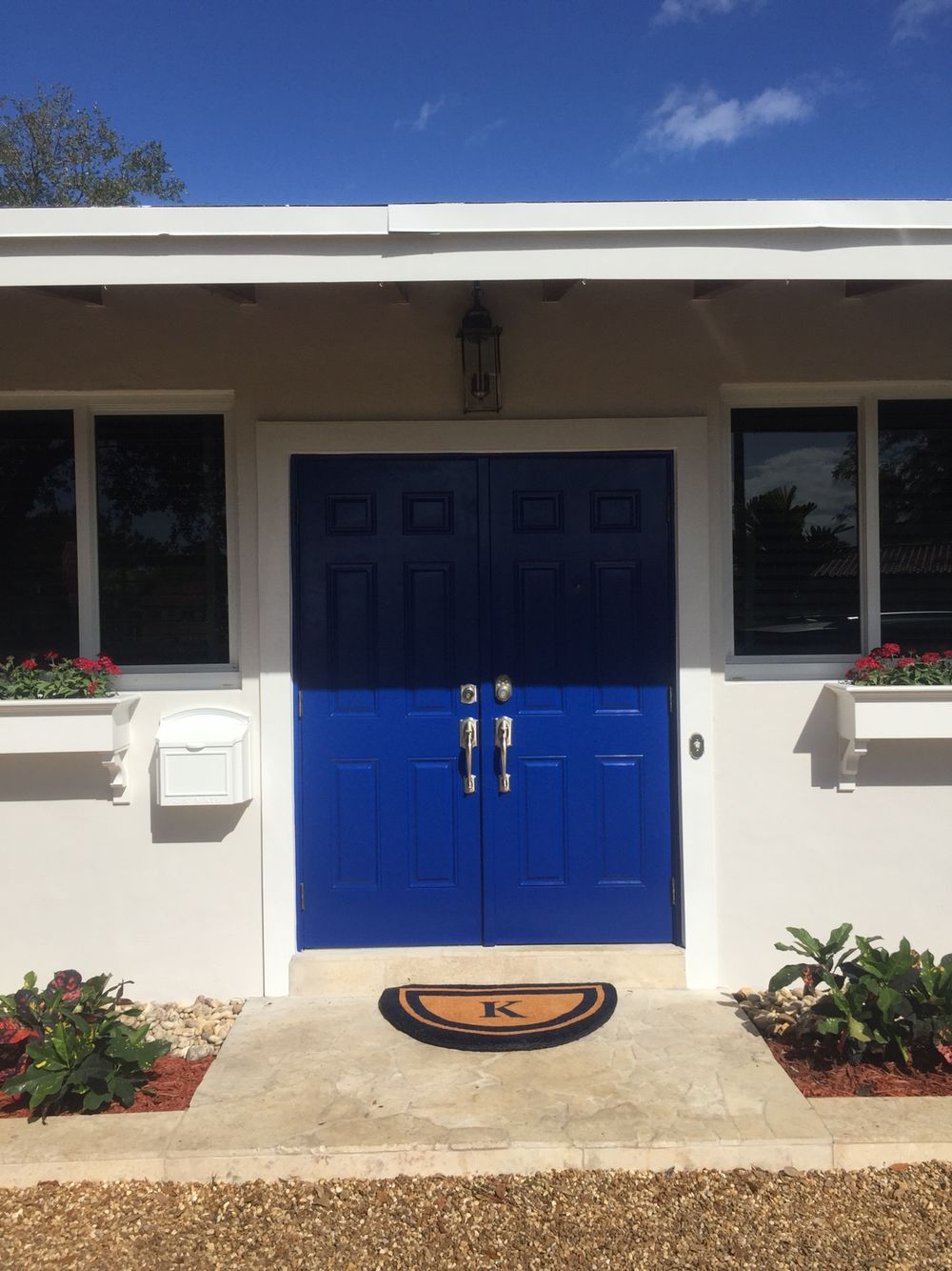 Our Front Door We Decided On Sherwin Williams Honorable Blue And Are Thrilled With The Result Front Door Paint Colors Blue Front Door Painted Front Doors