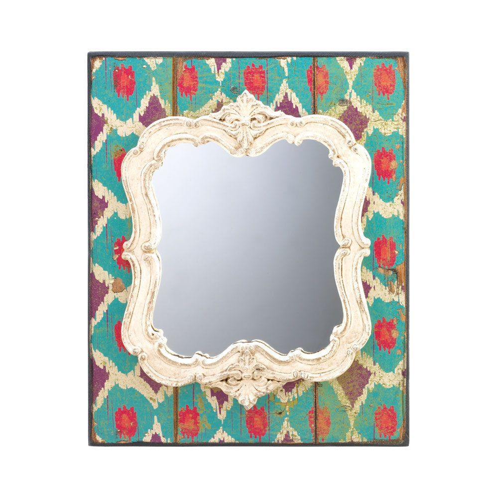 Wall Mirror Art Wood Wooden Colorful Pattern Antique White Frame ...