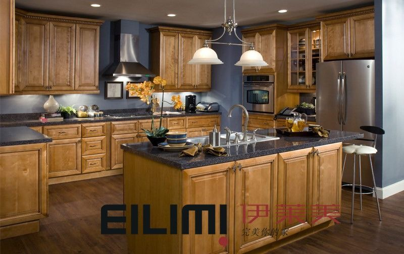 Maple Kitchen Cabinets And Wall Color maple kitchen cabinet, , cabinets, kitchen, blue walls