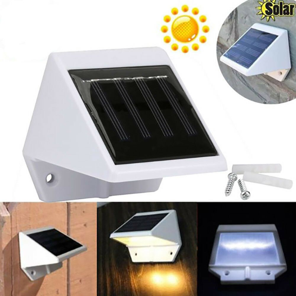 4 Led Solar Powered White Lights Outdoor Waterproof Landscape Fence Stairs Lamp Outdoor Lighting Outdoor Garden Sheds Led Outdoor Lighting