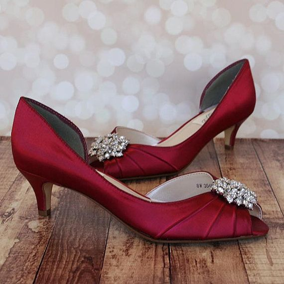 Wedding Shoes Red Wedding Shoes Red Kitten Heel Peeptoes Etsy Red Wedding Shoes Wedding Shoes Heels Custom Wedding Shoes