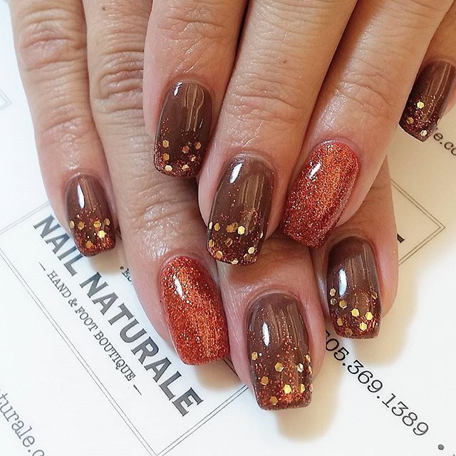 Fall Nails Brown Shimmer With Gold Glitter Tips And Orange Shimmer