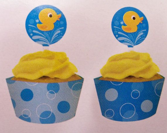 12 Rubber ducky cupcake wrappers with toppers  by SparkleandComfort, $16.00
