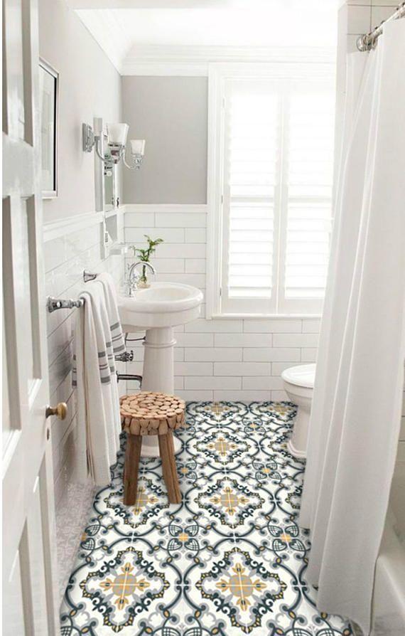 Tile stickers - Tiles for Kitchen/Bathroom Back splash - Floor decals - Hand Painted Medici Tile Sticker Pack in Charcoal & Ochre