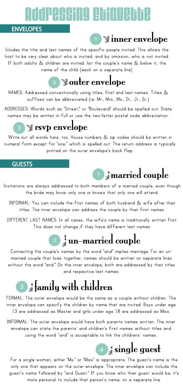 addressing invites - handy list to help you remember the proper way ...
