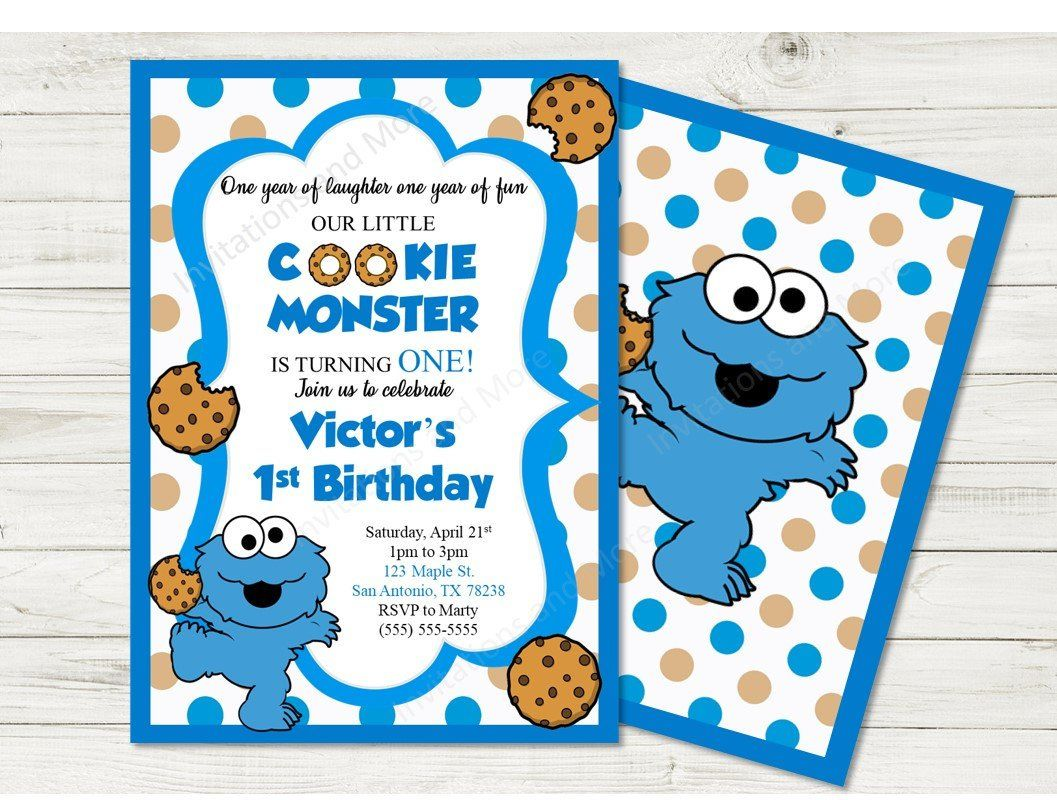 Cookie Monster Invitation First Birthday 1st One Year