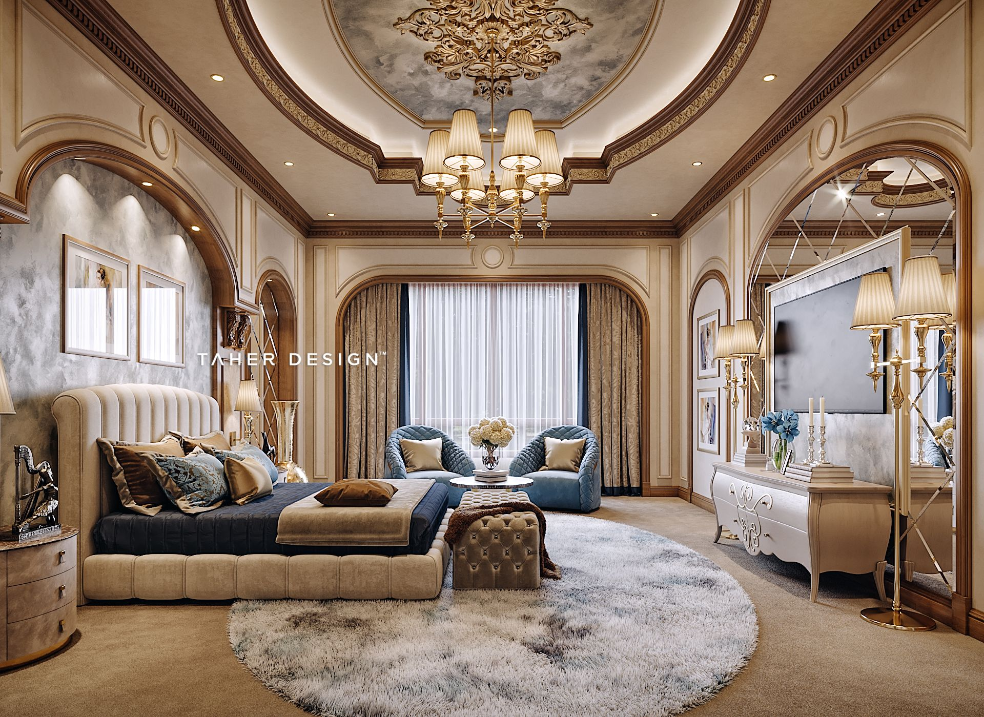 Guest Bedroom Design For Luxury Mansion Located In ( Dubai