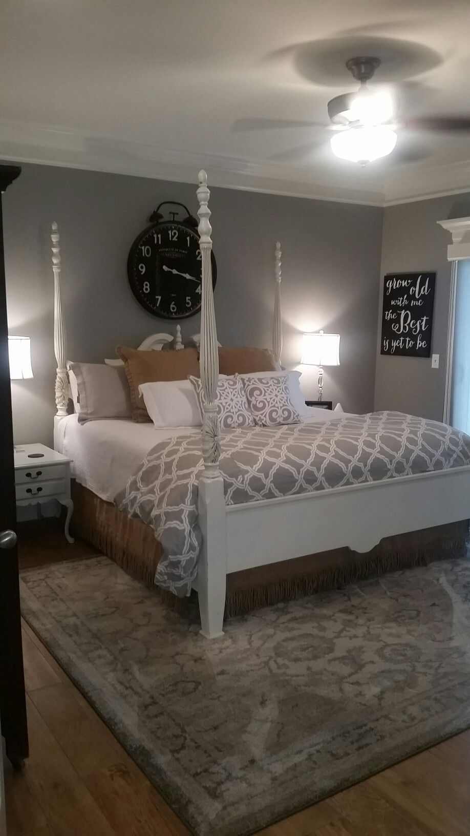 Master Bedroom At The Condo Dorian Grey Walls Ceramic Wood Tile Floors Painted Rice Bed This