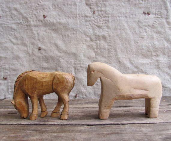 vintage c. 1980s primitive pair of carved wood horses