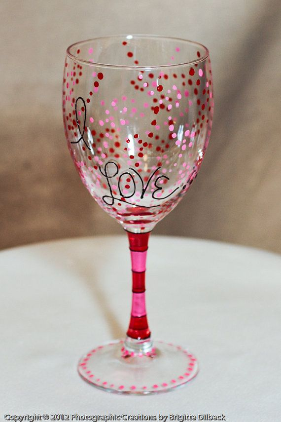 Hand Painted Love Wine Glasses Sold In Pairs Perfect Valentines