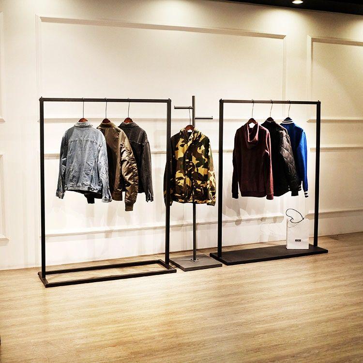 Rak display tempat gantungan baju material besi ...