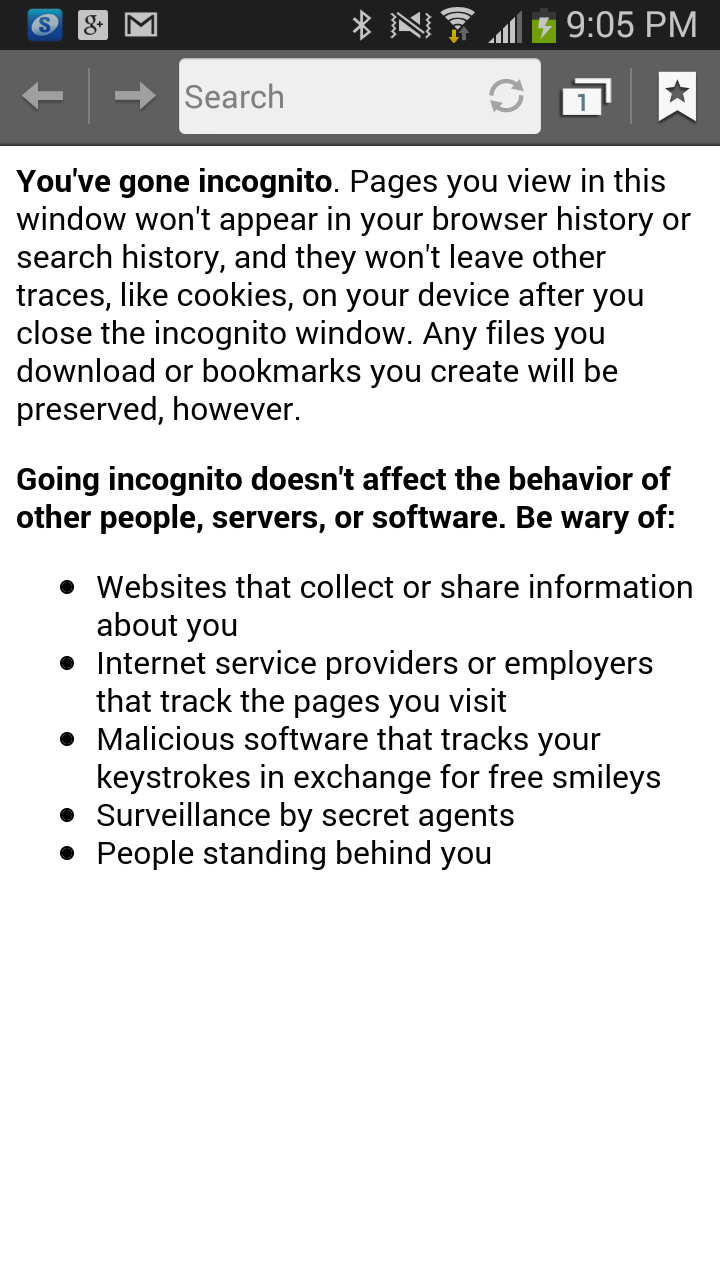 I Can T Believe The Warnings On Incognito Mode For An S3 With Images When You See It Incognito Bookmarks